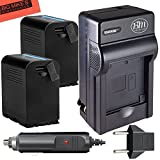 2 Pack of Replacement SSL-JVC75 Battery and Battery Charger for JVC GY-HMQ10, GY-HM200, GY-LS300, GY-HM600, and GY-HM650 Broadcast Camcorders