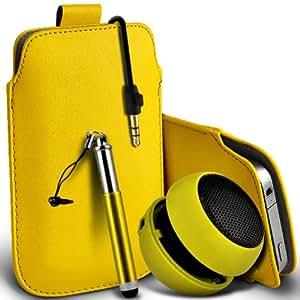 Samsung Galaxy Pocket Neo S55310 premium protección PU ficha de extracción de deslizamiento del cable En caso de la cubierta de la piel de la bolsa de bolsillo, Retractable Stylus Pen & Mini recargable portátil de 3,5 mm Cápsula Viajes Bass Speaker Jack amarilla por Spyrox