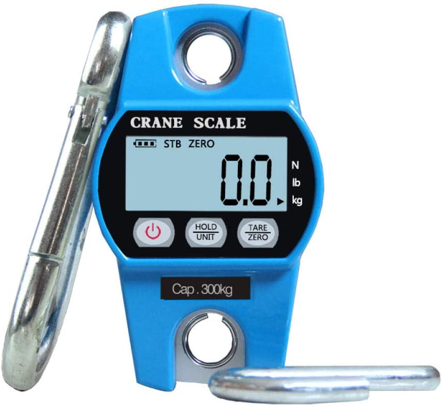 300kg Mini Handle Digital Scale Industrial Crane Scale Portable LCD Electronic Scale Heavy Duty Hanging Weighting Hook Scale-Blue Blue