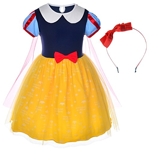 Princess Snow White Costume For Toddler Girls With Headband 5-6 Years (5T 6T) -