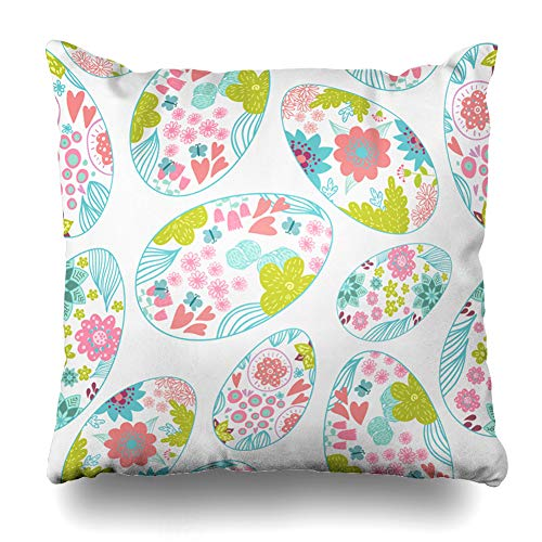 (Ahawoso Decorative Throw Pillow Cover Space Blue Bright Easter Eggs Doodle Handdrawn April Happy Holidays Christianity Contour Copy Drawing Home Decor Pillowcase Square Size 18