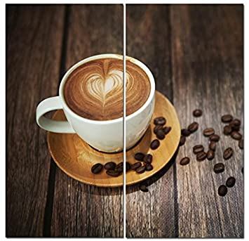 Canvas Wall Art Decor – 12×24 2 Piece Set Total 24×24 inch – Cafe Coffee Latte – Decorative Modern Multi Panel Split Canvas Prints for Dining Living Room, Kitchen, Bedroom, Office Gifts