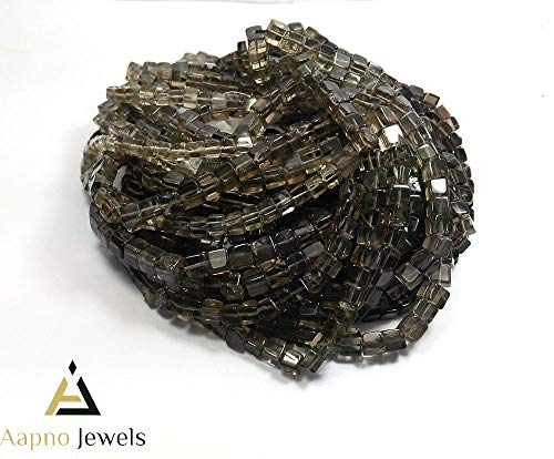 1 Strand Natural Smoky Quartz Loose Beads Strand,5-7mm 8 Inch Smooth Cube Box Smoky Quartz Beads, Smoky Quartz Beads Necklace, Jewelry Making Smoky Quartz Beads, Knotted Smoky Quartz Necklace