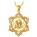 Allah Pendant Muslim Jewelry Religious Necklace Unisex Rhinestone Flower Charm 18K Gold Plated