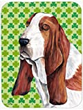 Caroline's Treasures SC9292LCB Basset Hound St. Patrick's Day Shamrock Portrait Glass Cutting Board, Large, Multicolor
