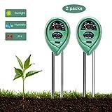 CESTLAVIE 2pcs 3-in-1 Soil Tester Sensor Meter Test Moisture, PH Value and Environment Sunlight Intensity Meter for Home, Garden, Lawn, Farm Promote Plants Healthy Growth No Battery