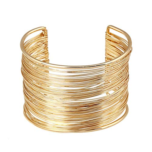 Golden Line Wide Armband Cuff Bangle Jewelry Wedding Party Wear Mother Gift