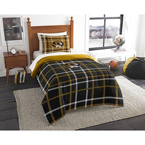 2pc NCAA Missouri Tiger Columbia Twin Comforter Set, Polyester, Sports Patterned Bedding, Team Logo, Missouri Merchandise, Black Gold Yellow, Team Spirit, College Football Themed