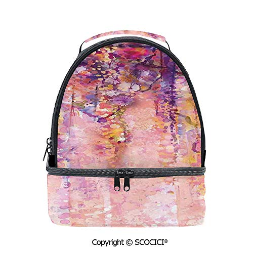 SCOCICI Large Capacity Durable Material Lunch Box Wisteria Tree in Full Blossom Romantic Spring Over Bokeh Background Multipurpose Adjustable Lunch Bag