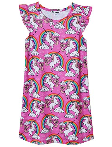Big Girls Princess Nightgown Sleeveless Cotton Unicorn Nightdress for Kids