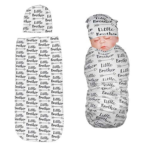 Newborn Swaddle Blanket with Baby Hat Set Sleeping Sack Soft&Stretchy Cotton Fabrics Baby Shower Gift for 0-3 Months Baby Boys Word Little Brother Print by TIANNUOFA