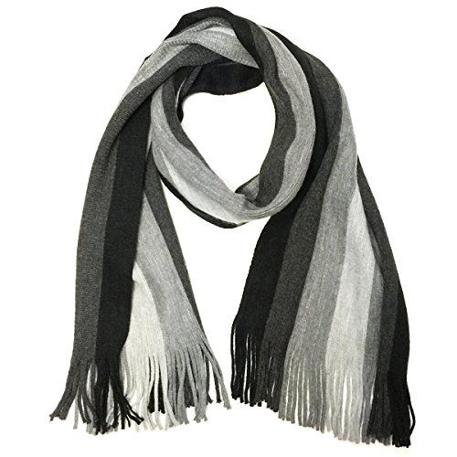Wrapables Men's Classic Multi-stripe Wool Long Winter Scarf, Grey ()