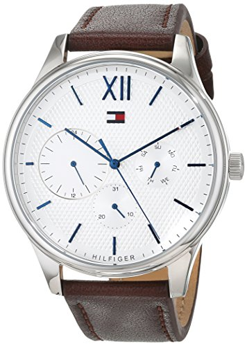 Tommy Hilfiger Men's Brown Leather Band Steel Case Quartz Silver-Tone Dial Analog Watch 1791418