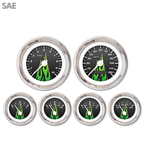 White Modern Needles, Chrome Trim Rings, Style Kit DIY Install Aurora Instruments 3656 Carbon Fiber Green Flame SAE 6-Gauge Set