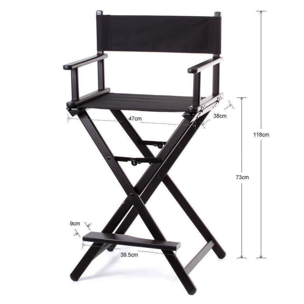 Forest® - Silla de Director Profesional de Maquillaje, Plegable, Ligera, de Aluminio, Color Negro