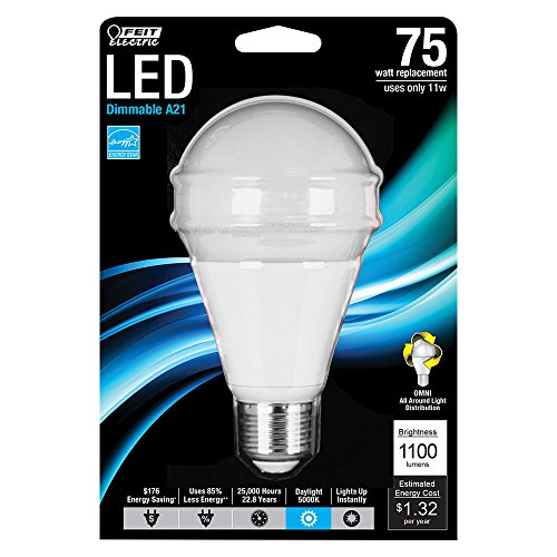 Feit Electric BPOM75/850/LED Dimmable Multi-Use Led Bulb, 11 W, 120 V, A21, Medium Screw E26, 25000 Hr, Daylight