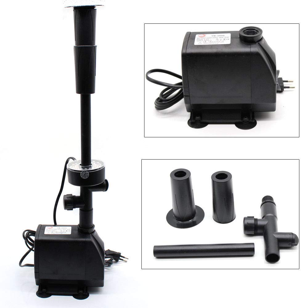LED Submersible Pump Fountain, LED Submersible Aquarium Waterfall Fountain Pump Garden Pump 98W Head Hmax 3.5m Used for Pond/Waterfall/ Stream/Fish Tank/Hydroponic (US Stock)