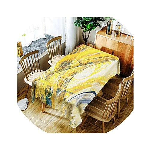 HANBINGPO Abstract Oil Painting Decorative Tablecloth Waterproof Thicken Rectangular Wedding Home Dining Table Cover Tea Table Cloth,798,150X260CM