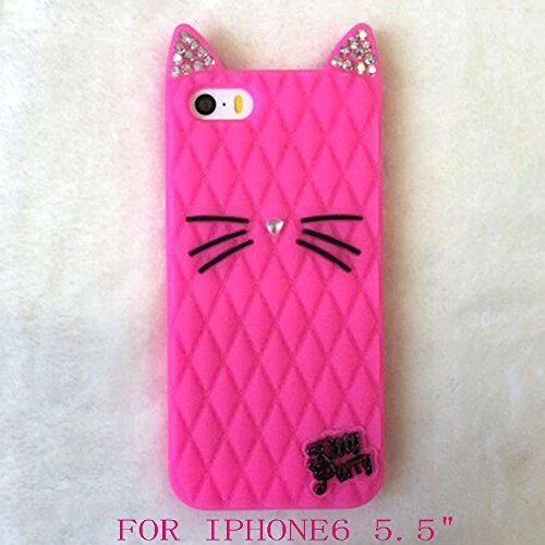 2015 Newes California cat Fruit sister Katy Perry kitty purry Metal Brand Diamond glitter case For iphone4 4s/5 5s/6/6 plus (plus 5.5 Rose)