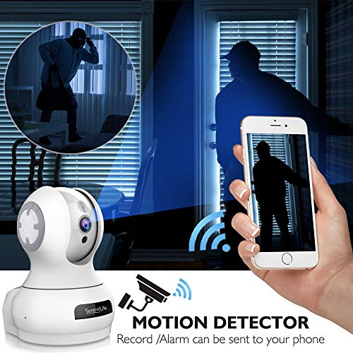 SereneLife 3MP Indoor Cloud Cam - Smart Motion Tracking PTZ - Face Detection Alexa Compatible - Ultra HD 1536p Wireless Home Security Pet Monitoring w/Motion Detect, Night Vision Video - IPCAMHD85