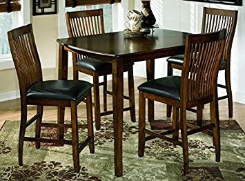 Signature Design by Ashley D293-223 Stuman Collection Counter Height Dining Room Table and Barstools - Set of 5 - Medium