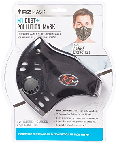 Jt Paintball Goggle Mask Strap - RZ Dust/Pollution Mask w/2 Laboratory Tested Filters, Model M1, Black, Size Regular/Large