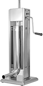 XtremepowerUS 7L Vertical Sausage Stuffer Hand Crank Sausage Grinder Maker Stainless Steel for Home & Commercial Use (20 LBS)