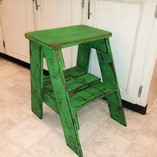 Rustic Wood Step Stool Shabby Chic Furniture/Bedroom Side Table/Cottage Farmhouse/Bohemian Decor/Step Ladder ()