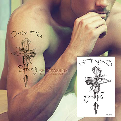 tzxdbh Tatuajes temporales Cuello Espalda Cruzada 3D Hombres ...