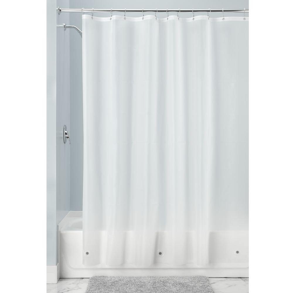 InterDesign Mildew-Resistant Antibacterial 10-Gauge Heavy-Duty Shower Curtain Liner - X-Long, 72'' x 96'', Frost