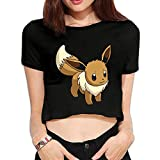 HmkoLo Women's Eevee Short Sleeve Crop Top Shirts Black