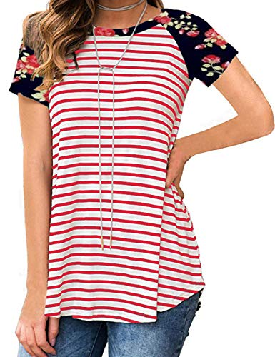 Short Sleeve Striped Tops for Women Print Casual Loose Fit Red L
