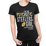 USA Threadz Psychotic Pittsburgh Steelers Girl Black T-Shirt For Women