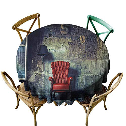 Zmlove Antique Natural Tablecloth Old Armchair Floor Lamp in Grunge Interior Damaged Messy Abandoned House Machine Washable Pale Green Red Black (Round - 63