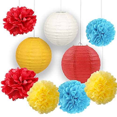 Carnival Party Supplies Tissue Paper Flowers Pom Pom Paper Lanterns for Circus Baby Shower Circus Party - Flower George Curious