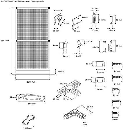 JAROLIFT Profi Line - Puerta mosquitera con marco giratorio, Protección contra insectos, 120 x 220 cm, color blanco: Amazon.es: Bricolaje y herramientas