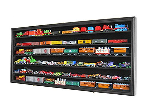Hot Wheels Wall Accent - HO, N Scale Trains, Hot Wheels, Toy Cars, Minifigures Display Case Rack Wall Cabinet Wall Shadow Box w/ UV Protection- Lockable (Black Finish)