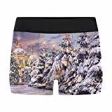 InterestPrint Boxer Briefs Men's Underwear Church with Christmas Trees in Snowfall on Christmas Eve in Winter Time M