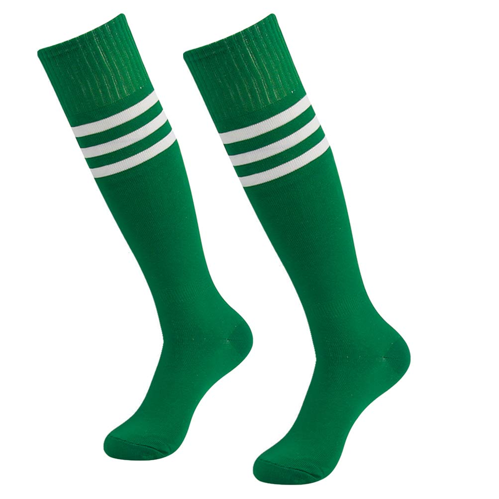 saillsen Knee High Ankle Soccer Socks Long Triple Striped Over Calf Breathable Durable Sports Socks Fit for Uniform 2 Pairs Green White Stripe One Size by saillsen