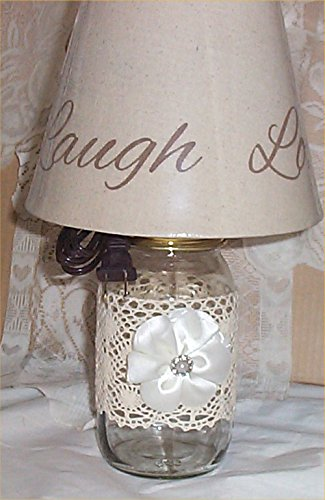Mason Jar Lamp Country Farm Shabby Chic Lace Ribbon French Country