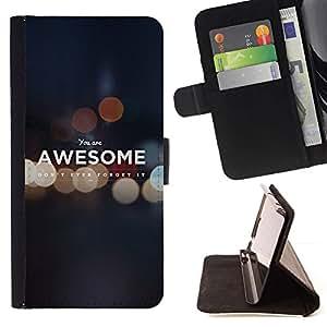 Momo Phone Case / Flip Funda de Cuero Case Cover - Impresionante Cita mismo digno de motivación - Samsung ALPHA G850