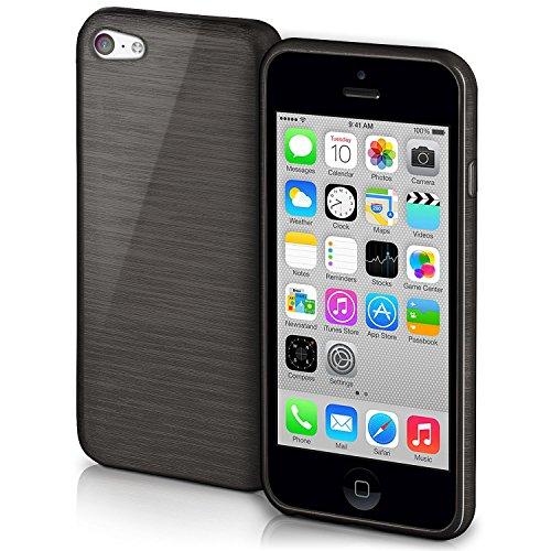 OneFlow Schutzhülle für iPhone 5C Hülle Silikon Case aus 1,5mm dünnem TPU | Zubehör Cover zum Handy Schutz | Handyhülle Bumper Tasche Gebürstet Aluminium Optik in Schwarz