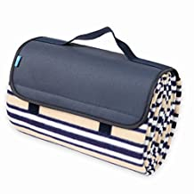 Yodo Campact Picnic Blanket Tote with Soft Fleece,Spring Summer Stripe