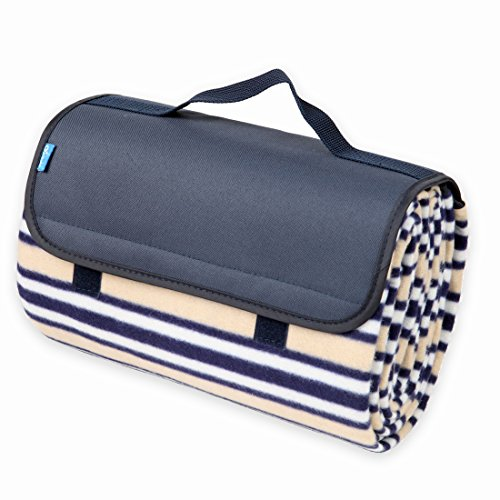 yodo Outdoor Water-Resistant Picnic Blanket Tote,Fall Winter Navy Stripe