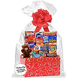 Red Hearts Valentines Day Thinking Of You Cookies, Candy & More Care Package Snack Gift Box Bundle Set