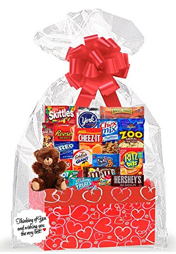 Red Hearts Valentines Day Thinking Of You Cookies, Candy & More Care Package Snack Gift Box Bundle Set - Delivered in 4 Business Days