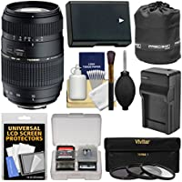 Tamron 70-300mm f/4-5.6 Di LD Macro 1:2 Zoom Lens (BIM) with EN-EL14 Battery & Charger + 3 Filters + Pouch + Kit for Nikon D3200, D3300, D3400, D5300, D5500, D5600 DSLR Cameras