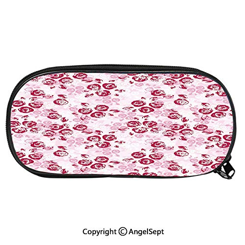 Kid School Pencil BagArtful Spring Garden Pattern with English Rose Blooms Romantic Abstract Decorative Cute Printing Pen Case Adult Office Accessories Pencil HoldersMaroon Light Pink White