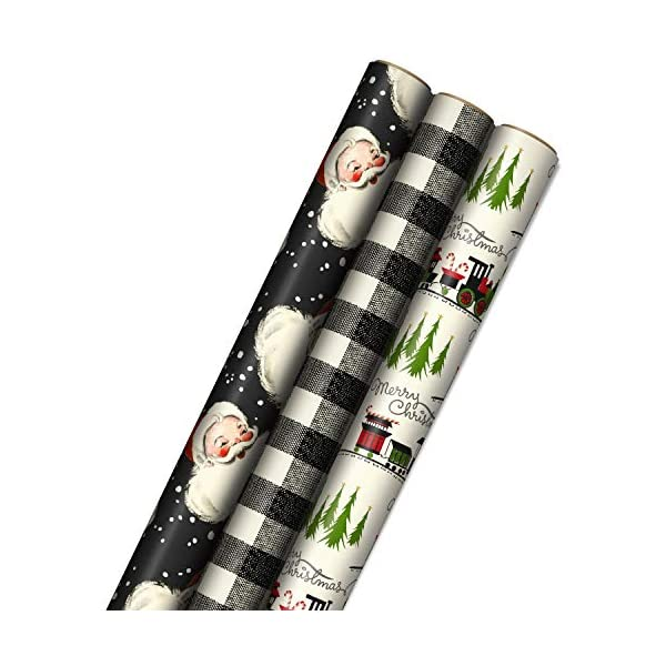 Plaid Hallmark Christmas Wrapping Paper Bundle with Cut Lines on Reverse