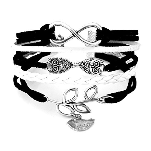 ReisJewelry Infinity Charms Lucky Owl Leaf Handmade Rope Wrap Sideways Braided Leather Bracelets (Black) (Rope Black Tiffany)